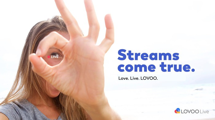 A Woman making the OK sign with her hand and the word live with a red recording dot is between her thumb and pointer. The words streams come true are printed next to her.