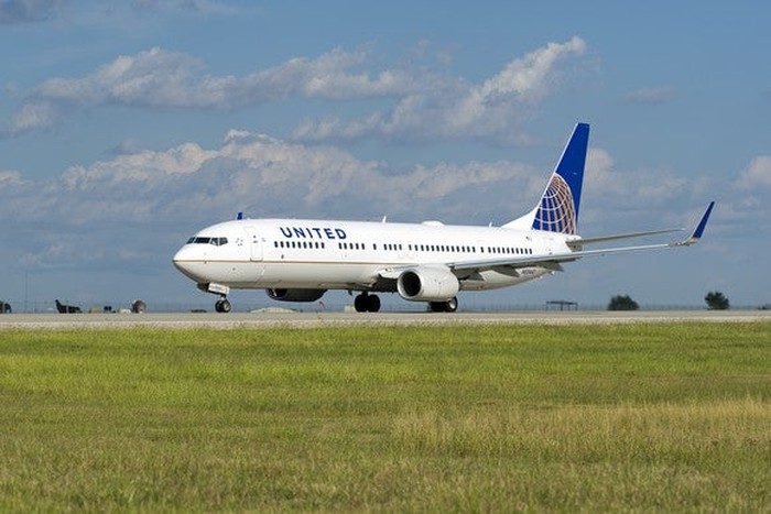 United plane on a runway