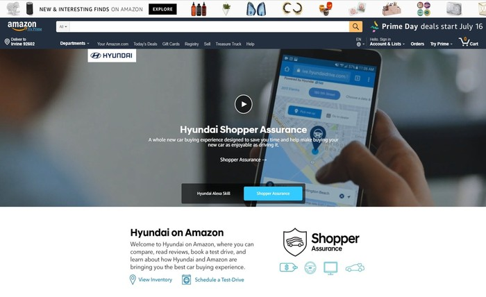 "Hyundai's ""front page"" in Amazon Vehicles, talking up its guarantees for buyers."