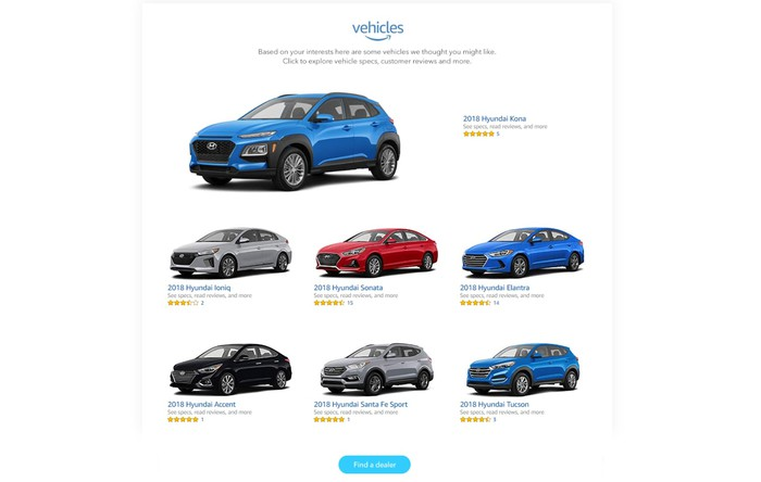 A web page showing Hyundai's model lineup on the Amazon Vehicles site.