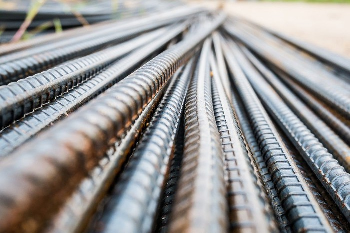 A stack of steel rebar
