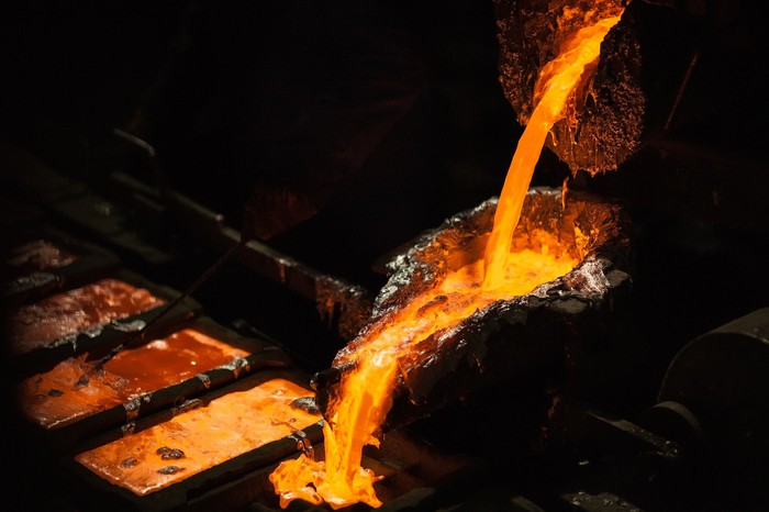 Molten metal being poured out