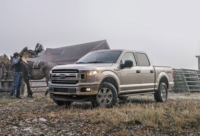 Ford's 2018 F-150 parked on a farm field.