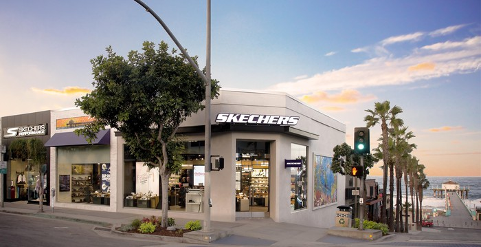 Exterior of the recently renovated flagship Skechers store in Manhattan Beach.