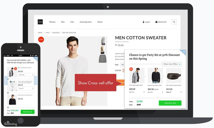 Shopify platform populated across a laptop and smartphone app.