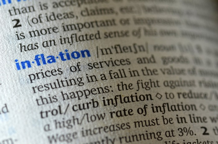 The word inflation being defined in a dictionary.