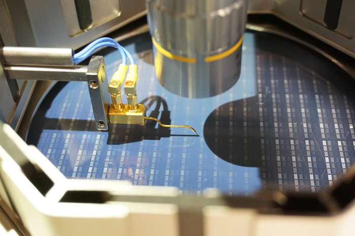 Chips being printed on a wafer.