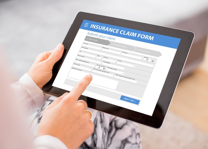 Insurance claim form on tablet