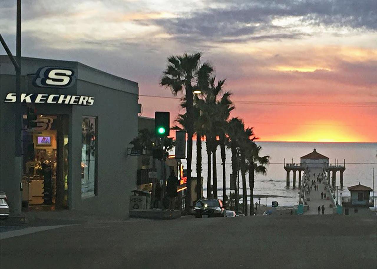 Skechers' flagship store in Manhattan Beach as the sun sets.