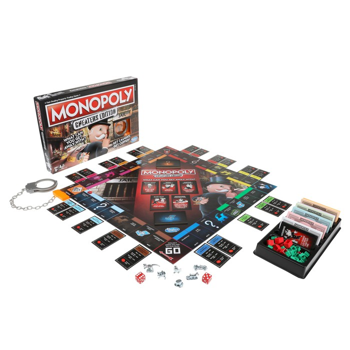 Monopoly Cheaters Edition, game board, cards, and pieces laid out ready to play.
