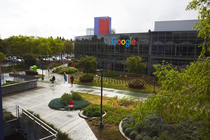 Google campus building with logo on the side
