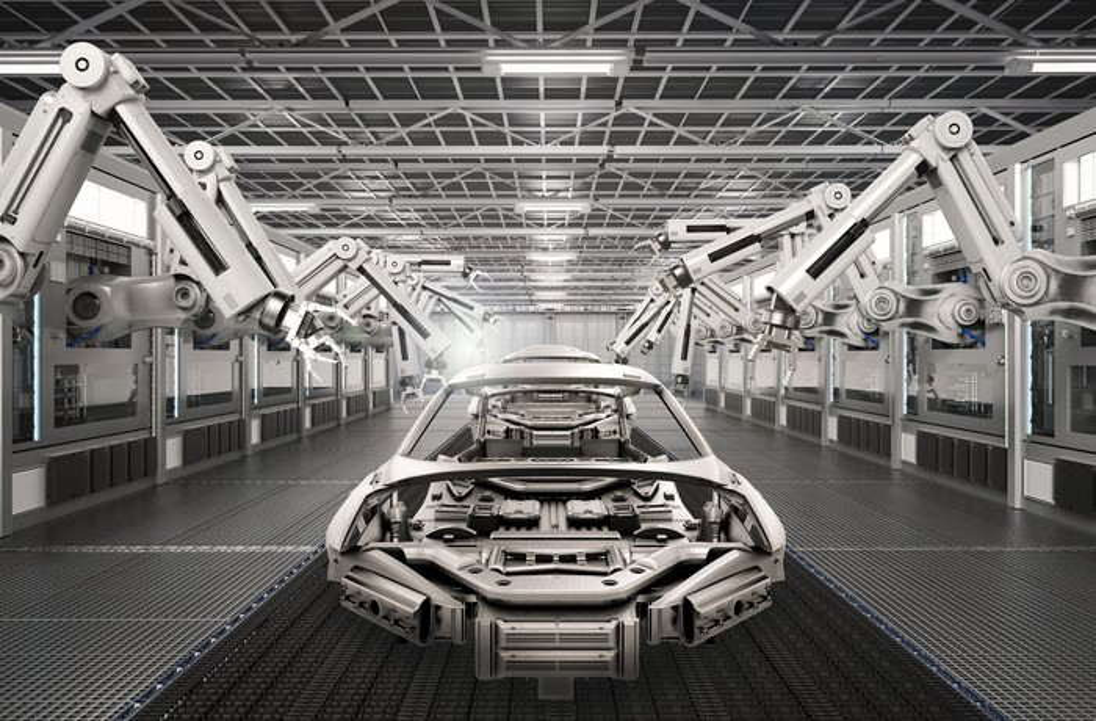 Digital representation of auto manufacturing plant.