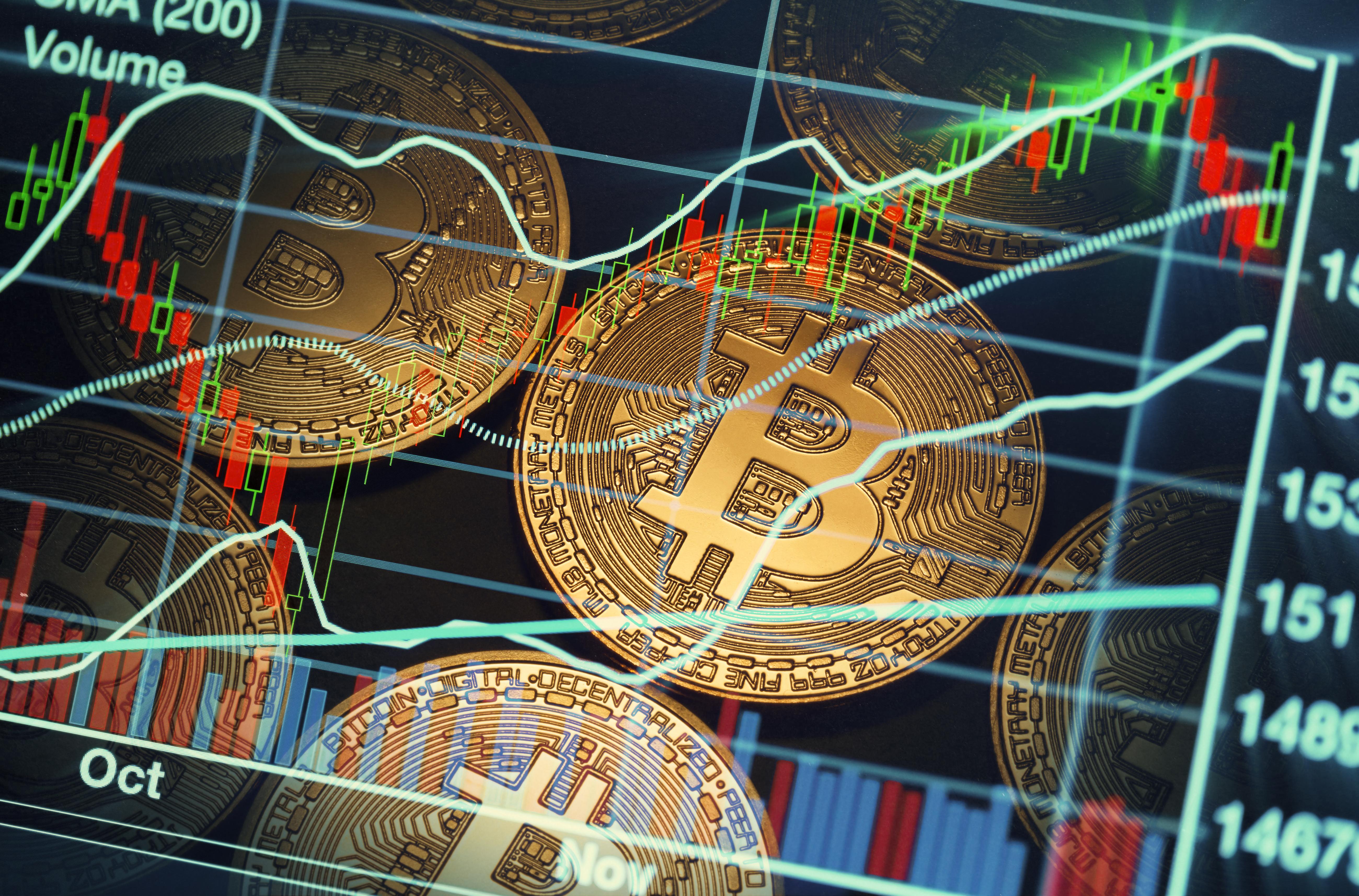 Price chart superimposed on Bitcoin symbols