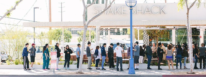 A line outside a Shake Shack in West Hollywood