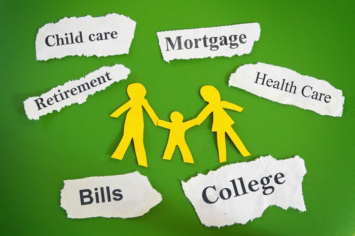 Paper cutouts of a family, and torn pieces of paper bearing words such as bills, college, mortgage, healthcare, etc.
