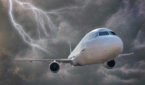Airplane in thunderstorm