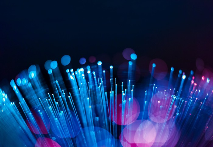 A closeup view of a fiber optic cable.