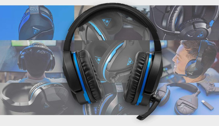 A collage of images of Turtle Beach's Stealth 300 headset for gaming.