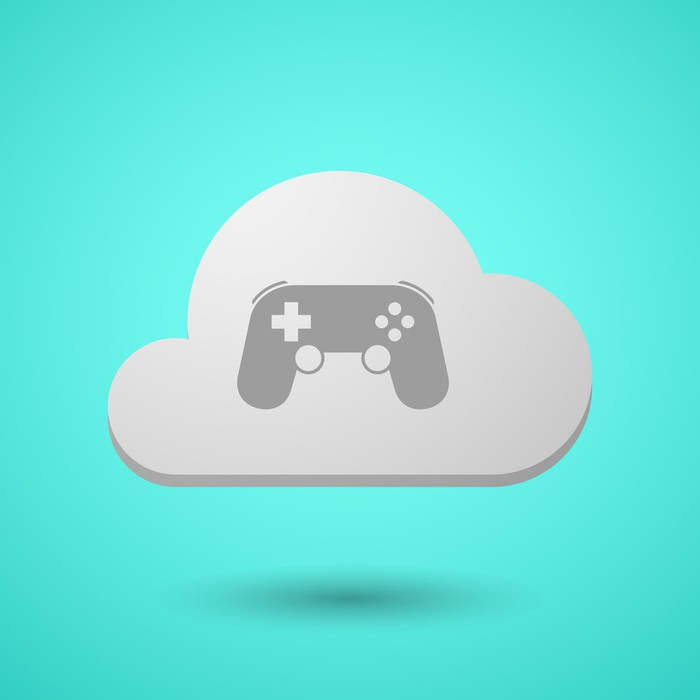 A video game controller in a cloud.
