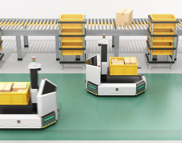 Robot forklifts work in a warehouse.