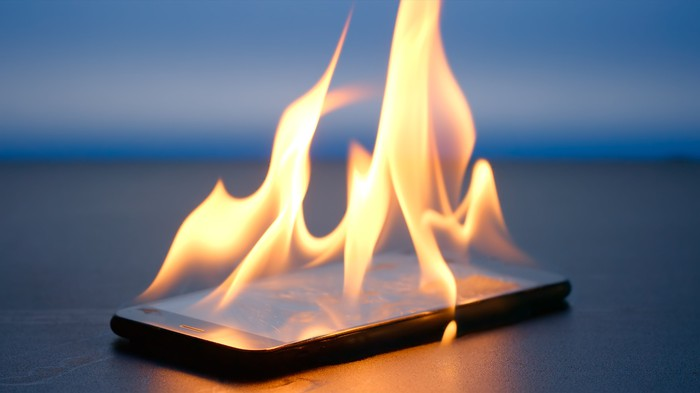A smartphone on fire.