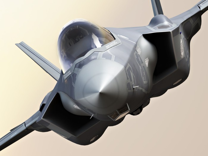 Front view of Lockheed's F-35 fighter jet