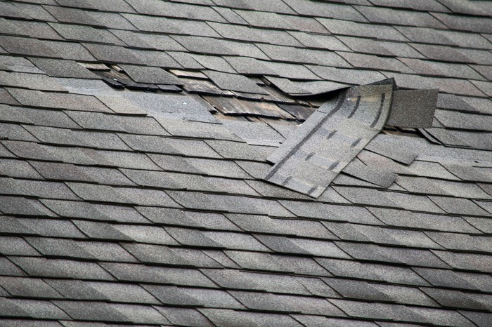 A damaged roof.