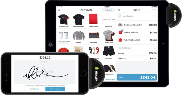 A smartphone and tablet, each with credit card readers attached, and displaying the Shopify app.