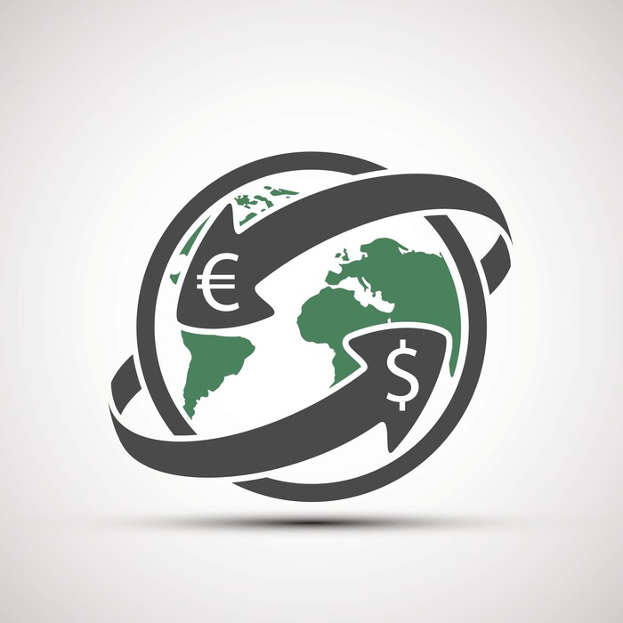 Earth icon with currency symbols and arrows denoting money transfer.