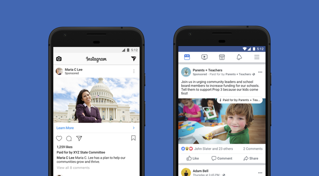 Political sponsored posts on Instagram and Facebook