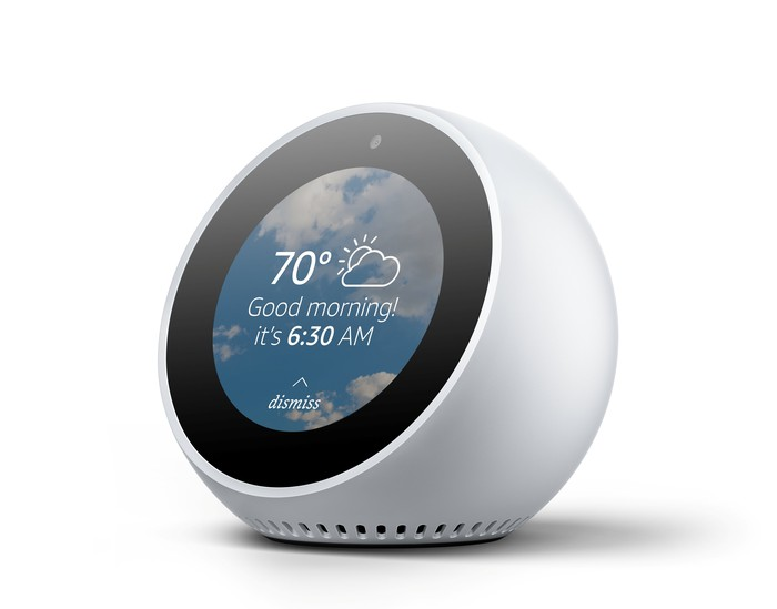 A white Echo Spot home smart speaker, which has a circular screen.