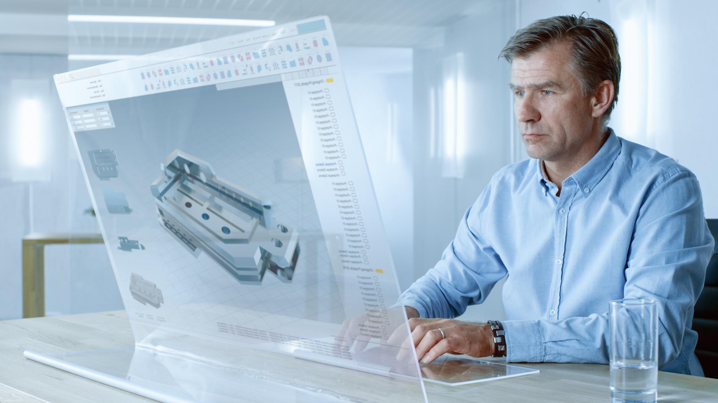 An engineer working on a 3D design