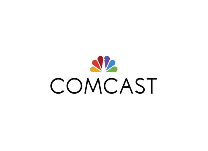 Comcast logo, featuring the NBC peacock tail, on a plain white background.