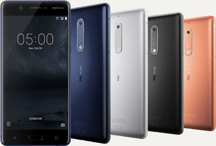 The Nokia 5 smartphone in different colors.