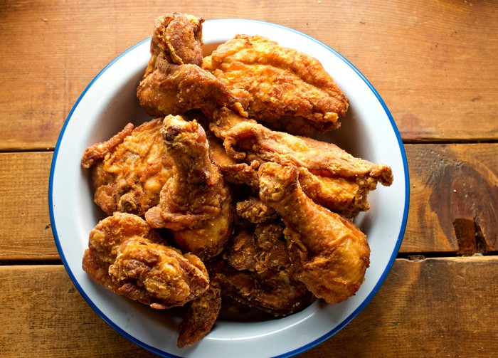 Bowl of fried chicken on a wooden table