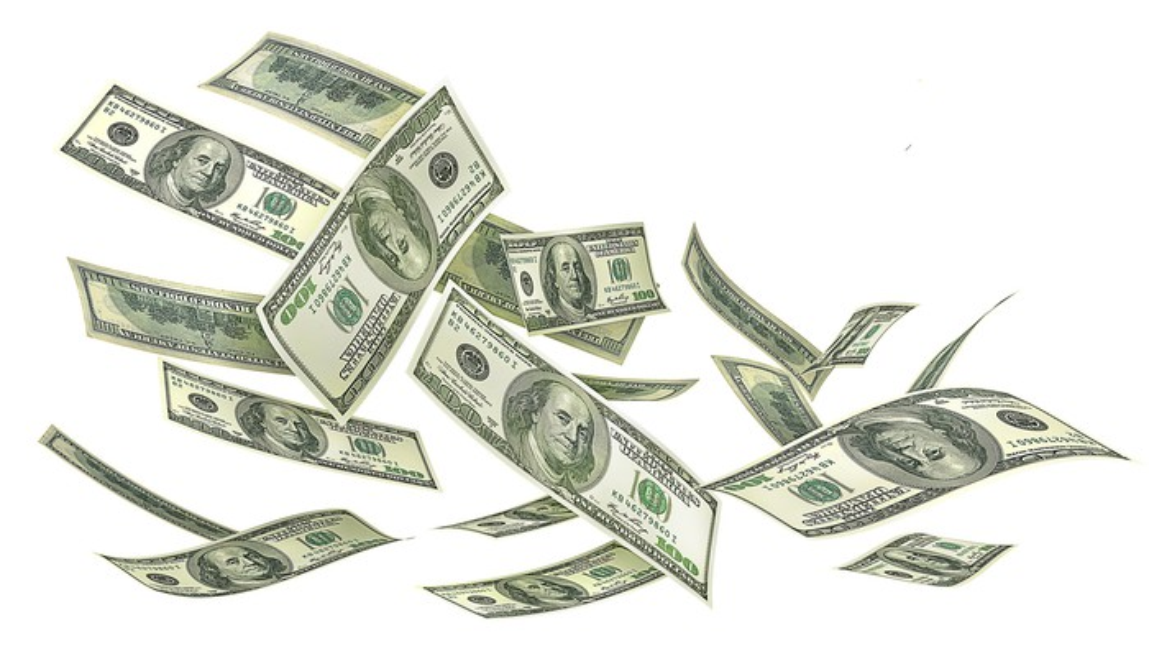 A handful of $100 bills falling through the air.
