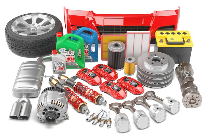 A range of automotive parts and components on display.