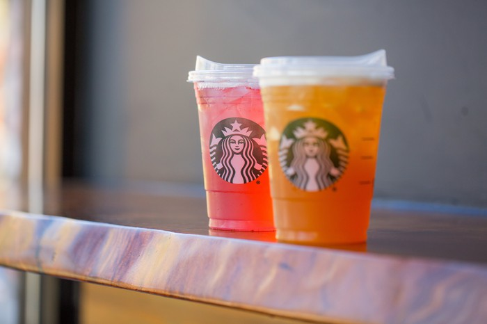 Starbucks iced beverages on a countertop.