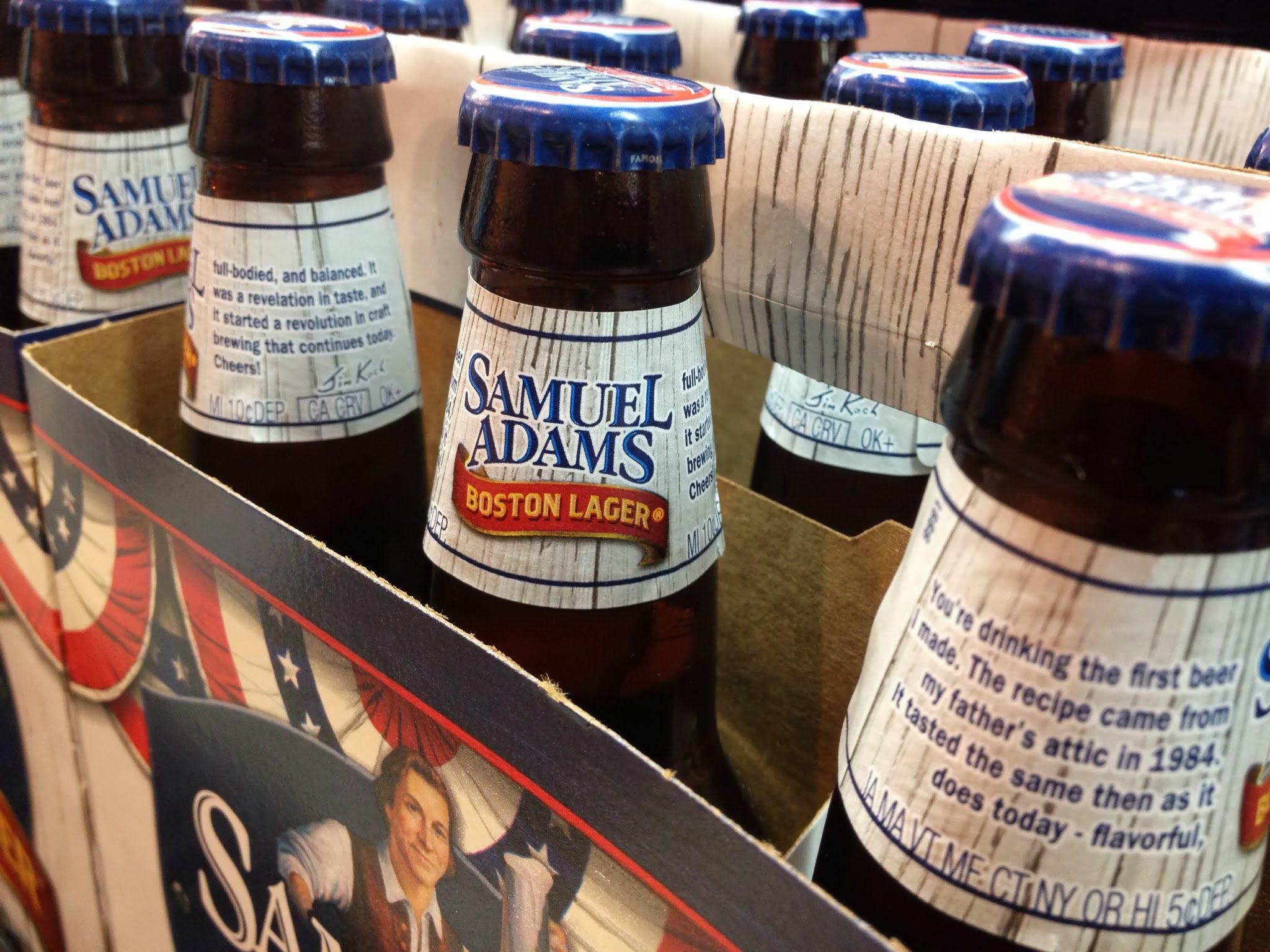 Closeup of six-packs of Samuel Adams Boston Lager