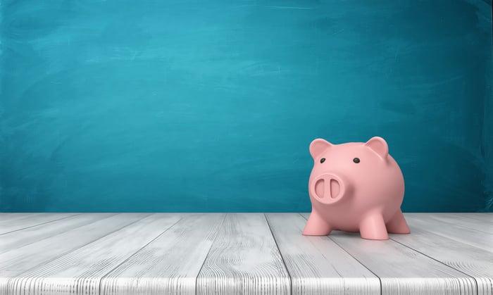 A piggy bank on a table.