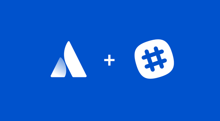 The Atlassian and Slack logos with a plus sign between them