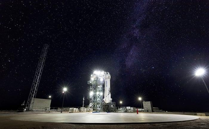 Blue Origin rocket on launch pad