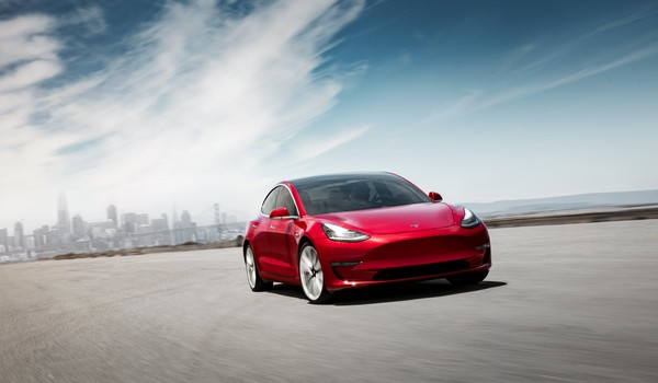 Tesla ONLY Model 3 Performance - Red Front Motion - SF Skyline