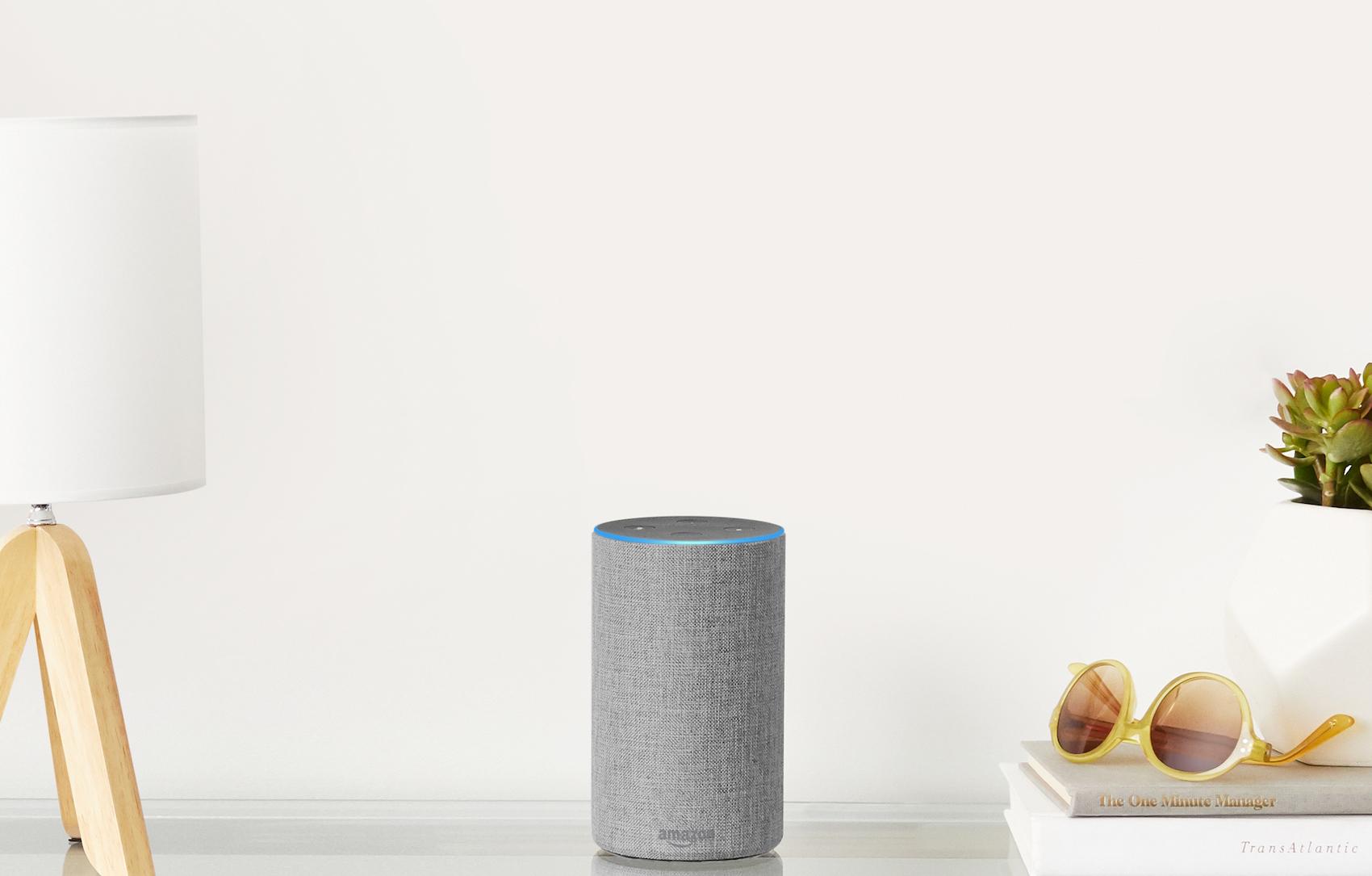 Amazon Echo smart speaker on table.