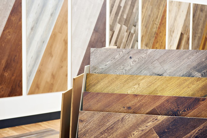 Inventory of different colored hardwood flooring.