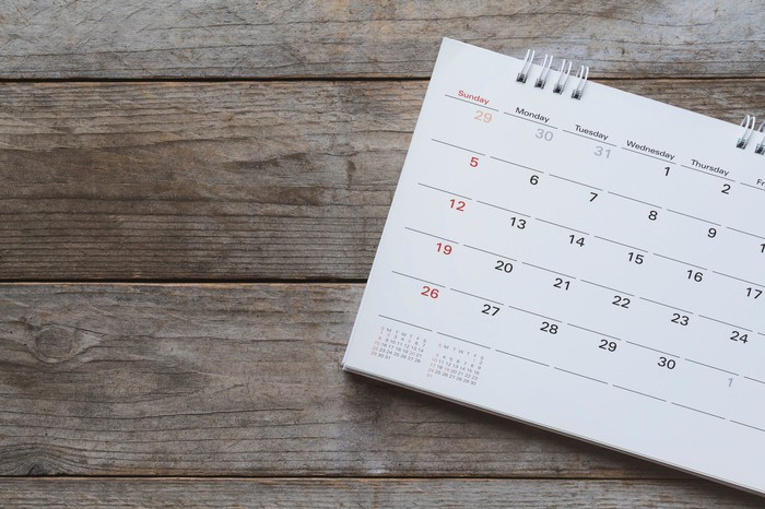 Calendar sitting on wooden surface
