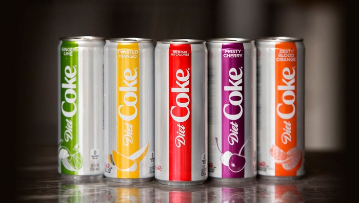 Different varieties of Diet Coke cans