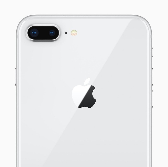 The back of the iPhone 8 highlighting the 12 megapixel camera.