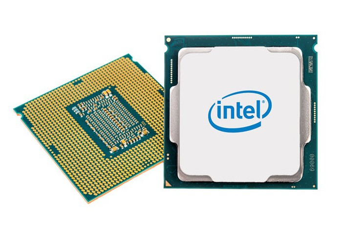 Two Intel desktop processors (backside on the left, front side on the right)