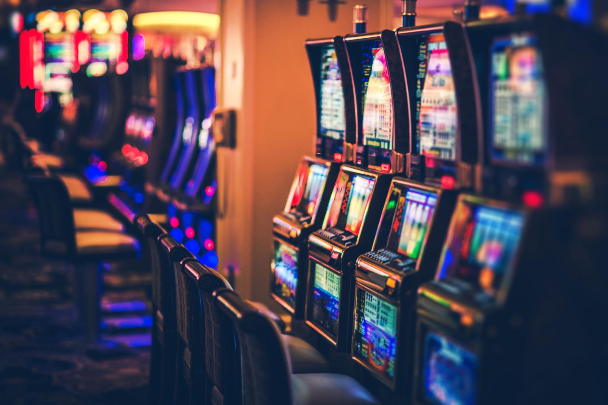 Slots on a casino floor.